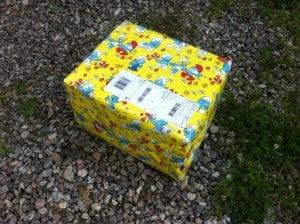 Ett smurfpaket med ägg från Uddevalla.