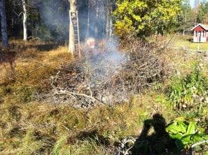 Rishögen var gott och väl två meter hög så jag spred ut den en del så att jag hade koll på elden.