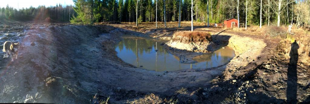 Lake Larslund tar form. Min damm – eller sjö – har allt jag kan önska för tillfället. Utom vatten. Massorna har dels använts till att bygga upp en mesa (platåberg) till vinster i bilden och dels spritts på fältet bakom dammen för att plöjas ner till våren.