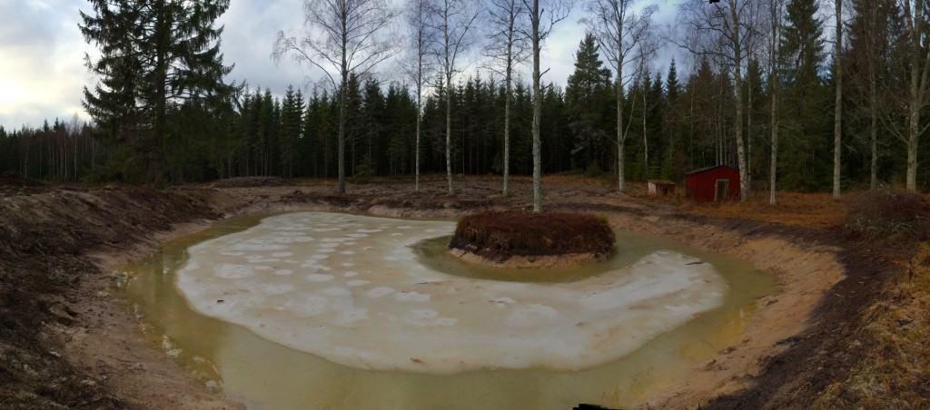 Nu, i slutet på december, har vattenytan sakta krupit uppåt. Några decimeter till – sen är jag nöjd.