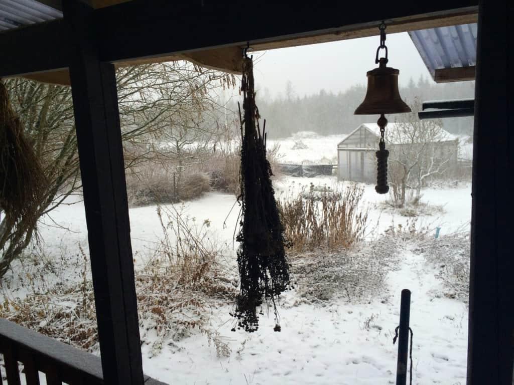 Första snön kom egentligen för ett par veckor sedan, men det var bara ett lätt puder som snabbt smälte bort. Nu får jag se om den här snön är här för att stanna.