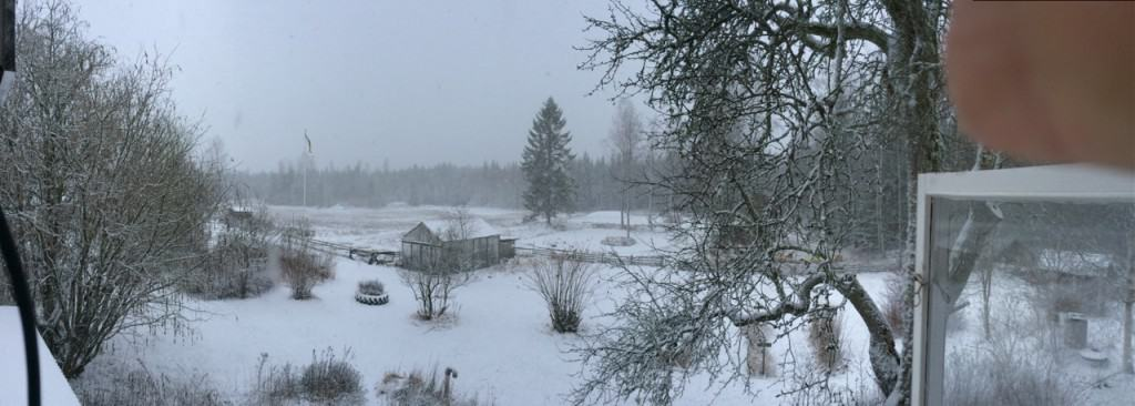 Det började vid halv tolv tiden med enstaka flingor. Då var det fortfarande helt vindstilla. Sen tätnade snöfallet och nu har det börjat dåna lätt i huset när byarna slår till. Dags att fixa lite mat och luta sig tillbaka framför brasan.