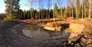 När jag ändå hade grävaren här passade jag på att gräva ut dammen.