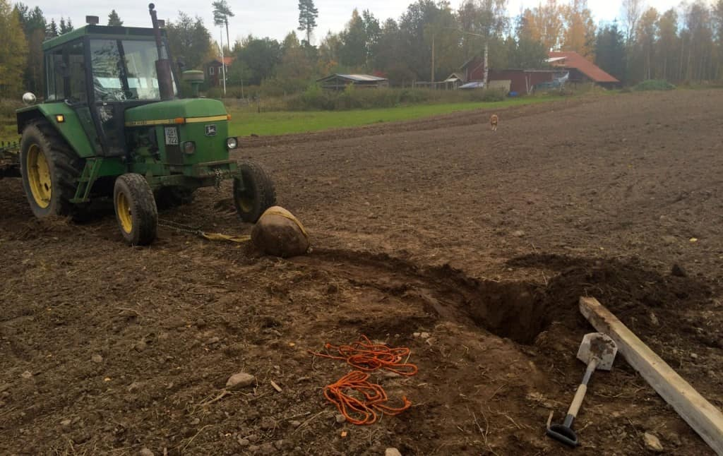 När man väl lyckas få fäste på stenen går det lätt att dra upp den med traktorn. Men vägen dit kan bli lång.