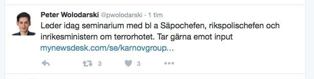 Peter Wolodarskis tweet om terrorhot fick mig att dra till minnes hur en rökare avslöjade ett bombhot.