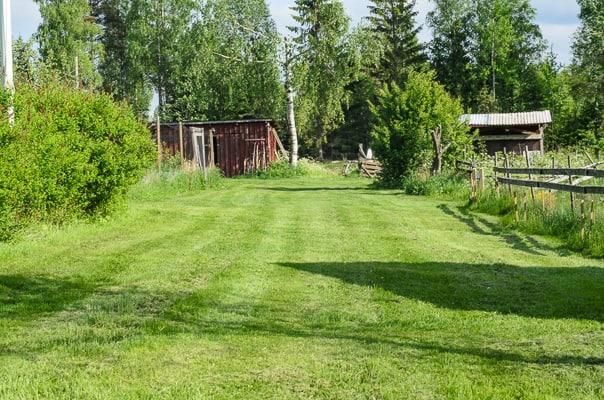 När klippet blir finfördelat ramlar det ner i gräsmattan där det förmultnar och näringen går tillbaka till gräset.