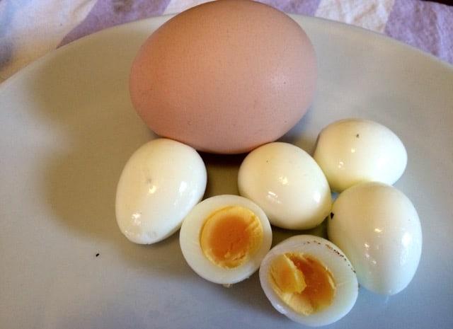 Att koka vaktelägg var inte svårt – här med ett hönsägg som jämförelse. Tycker de är rätt perfekt kokta.