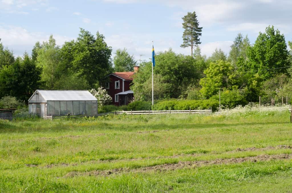 Och avslutningsvis en bild på gården från gärdena. Den enda jag kunde önska mer av den här dagen var lite vid som höll ut flaggan.