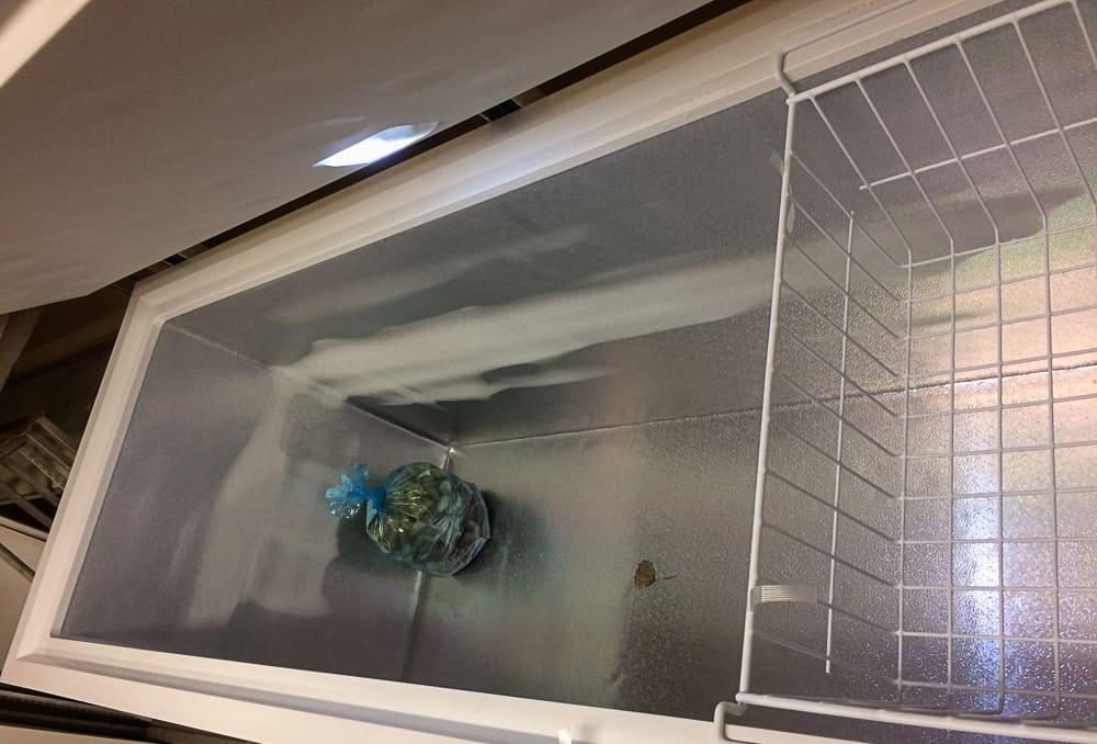 En sista påse rabarber i en ekande tom frysbox. Sista pressningen gjorde jag i veckan och nu är frysarna nedslängda inför vintern.