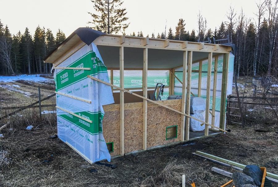 Nu är taket på plats. Mitt nya hönshus har fått både ytter och innertak. Nästa steg är väggar och fönster. Samt mina nya värpreden som jag hoppas mycket på.