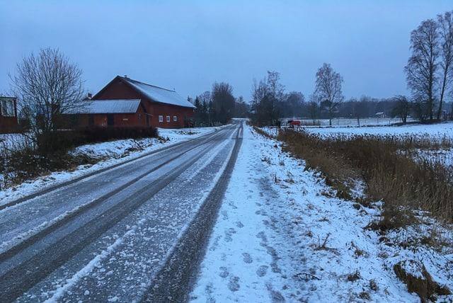 Fem kilometer i blåst och snöglopp var mer uppskattat av hunden än av mig. Inget för daglig pendling.