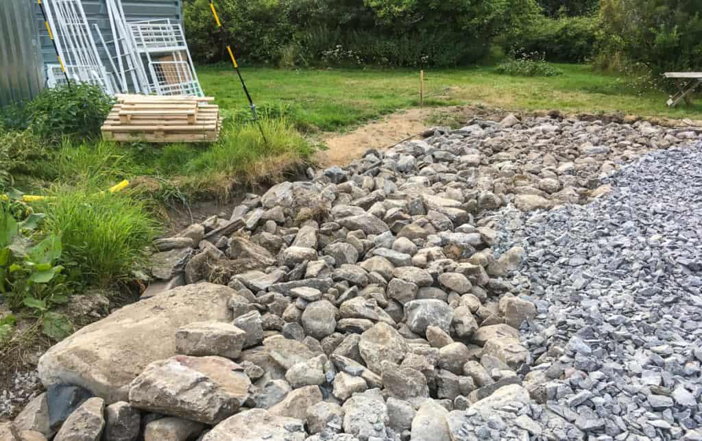 Grunden till grusplanen utgörs av all sten som grävdes upp i samband med saneringen. Den som försöker gräva här i framtiden får ha en rejäl spade.